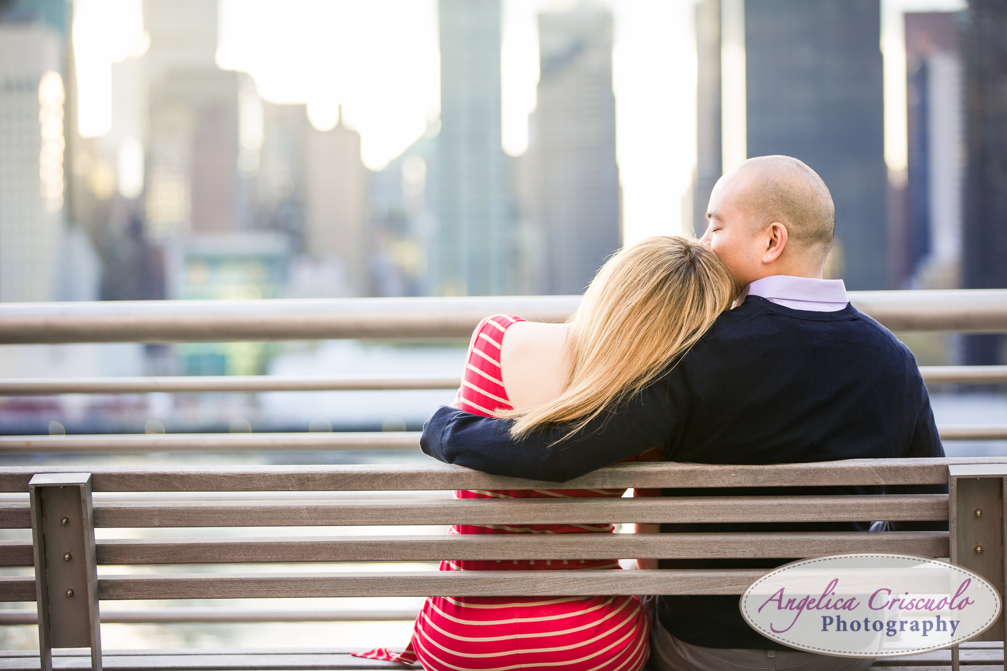 Queens Long Island City New York Engagement Photos in Gantry State Park Bench