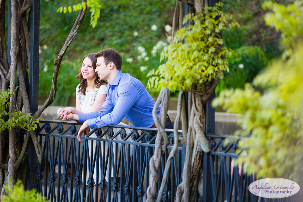 New York Wedding Engagement Conservatory Garden in Central Park Cherry Blossoms terrace