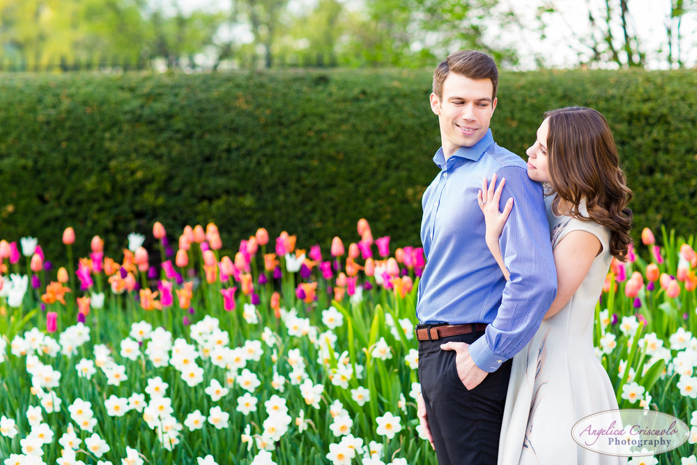 New York Wedding Engagement Conservatory Garden in Central Park tulip field