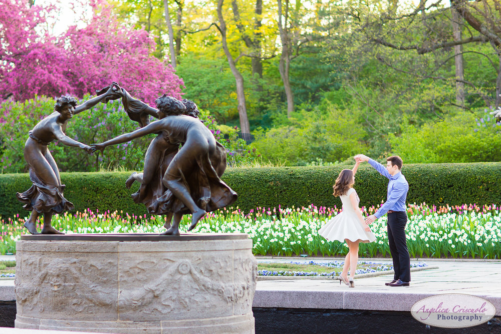New York Wedding Engagement Conservatory Garden in Central Park dancing ladies