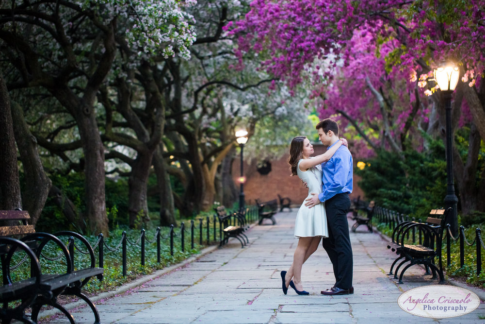 New York Wedding Engagement Conservatory Garden in Central Park Cherry Blossoms