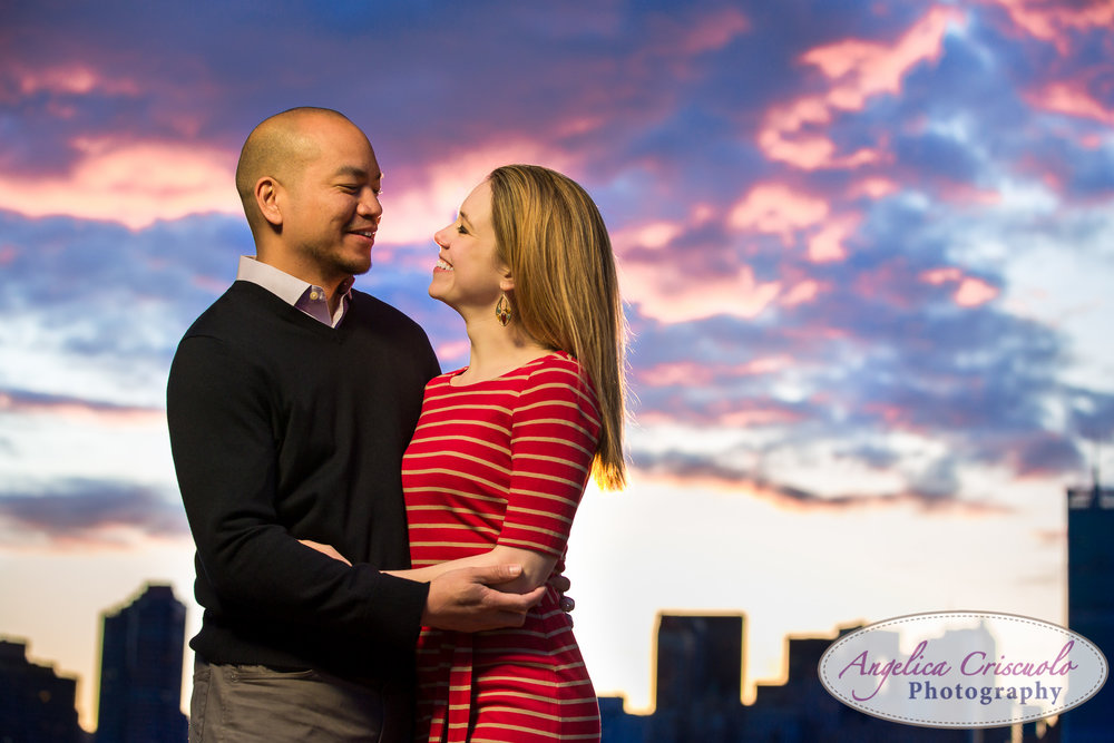 Queens Long Island City New York Engagement Photos in Gantry State Park Sunset