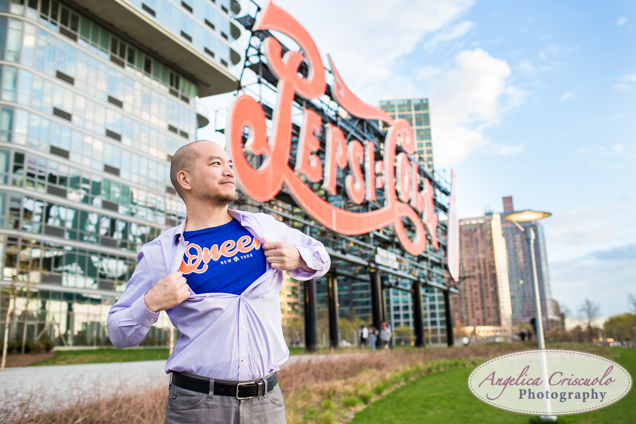 Queens Long Island City New York Engagement Photos in Gantry State Park Superman
