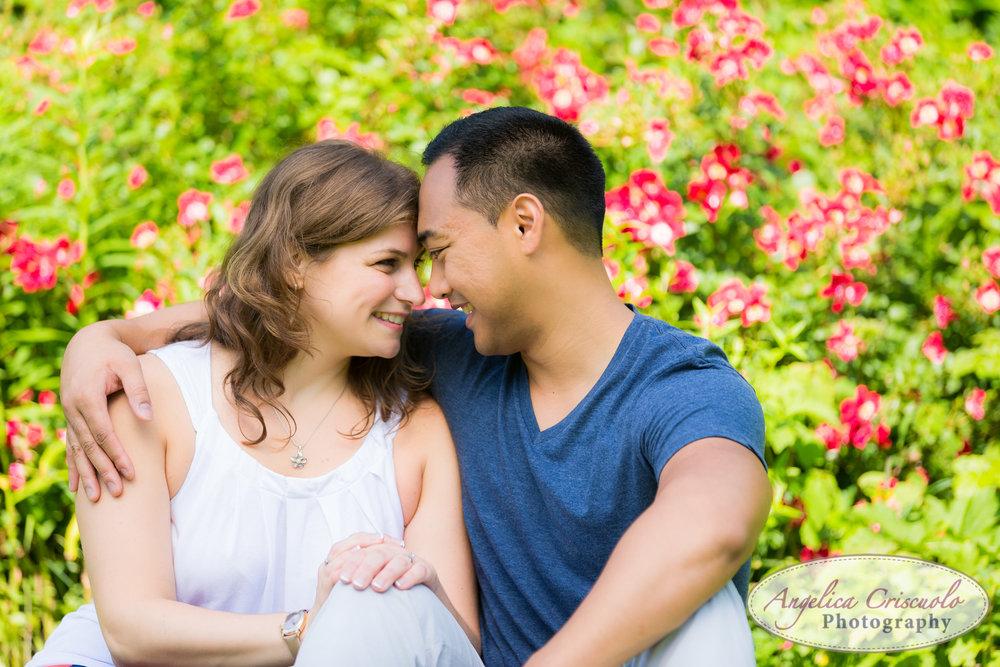 Romantic engagement photos ideas in NJ Botanical Garden Arboretum