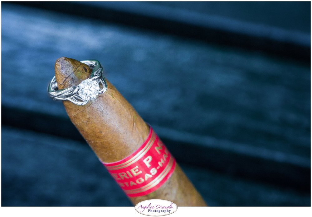 wedding ring with cigar new york wedding photographer