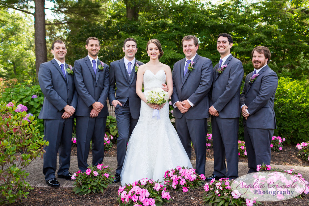 Bridal Party group photo ideas new york wedding photographer Long Island Smithtown Vera Wang suit