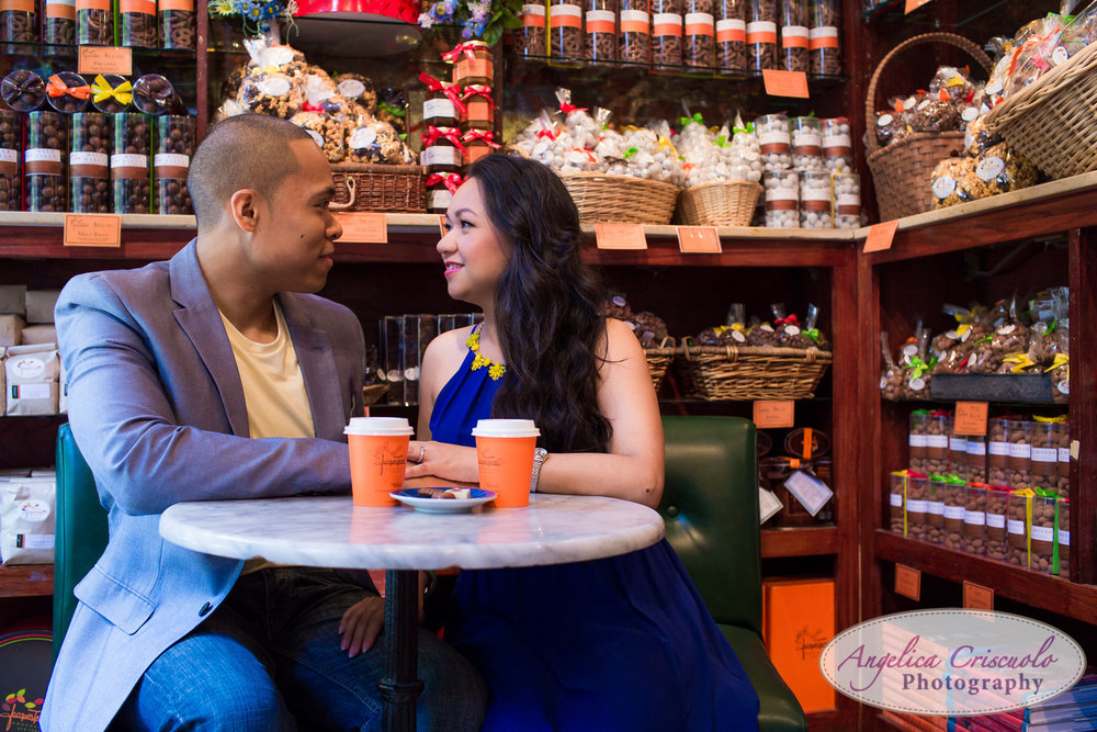 Jacques torres chocante engagement photos DUMBO Brooklyn New York Photographer