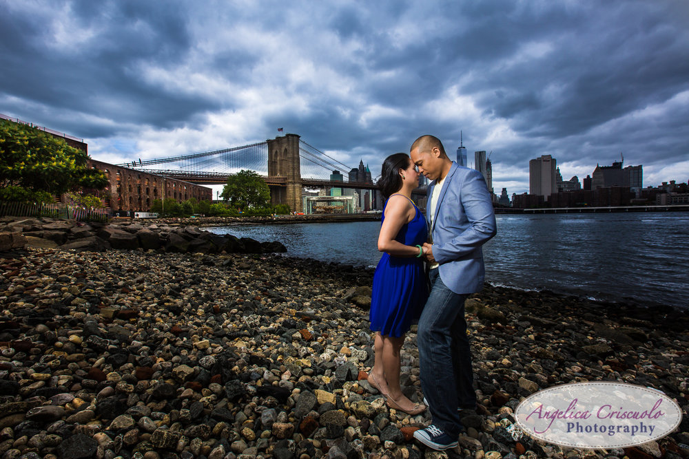 New York Wedding Photographer Engagement photos in Brooklyn DUMBO Park