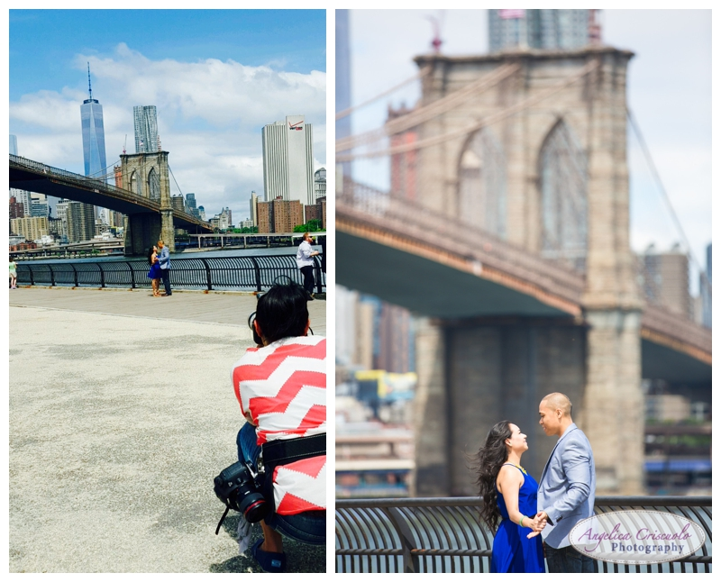 Behind The scenes on an Brooklyn NY Engagement Photo Shoot Long Lens