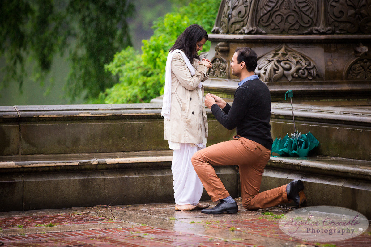 New York Surprise Proposal Central Park Bethesda Fountain