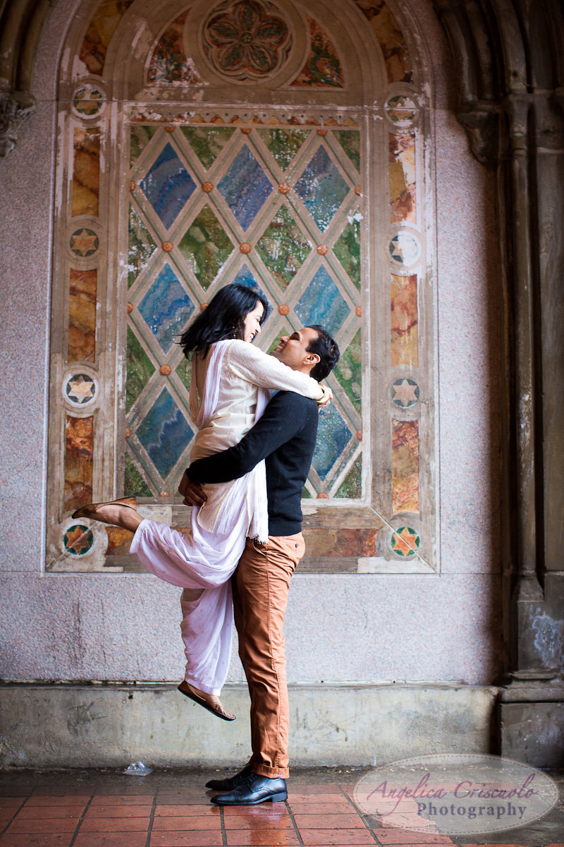 Central Park NY Bethesda Terrace engagement session after surprise proposal