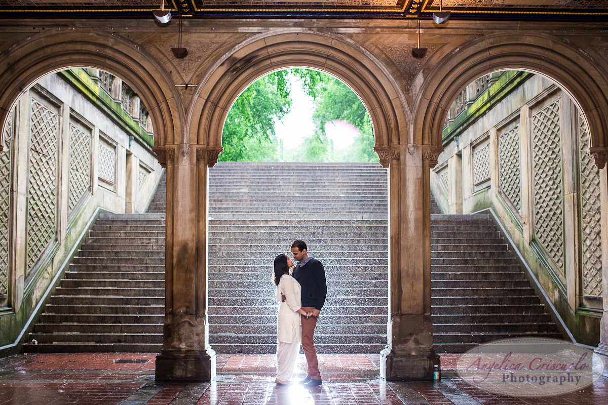 New York City Engagement photos Bethesda Terrace in the rain
