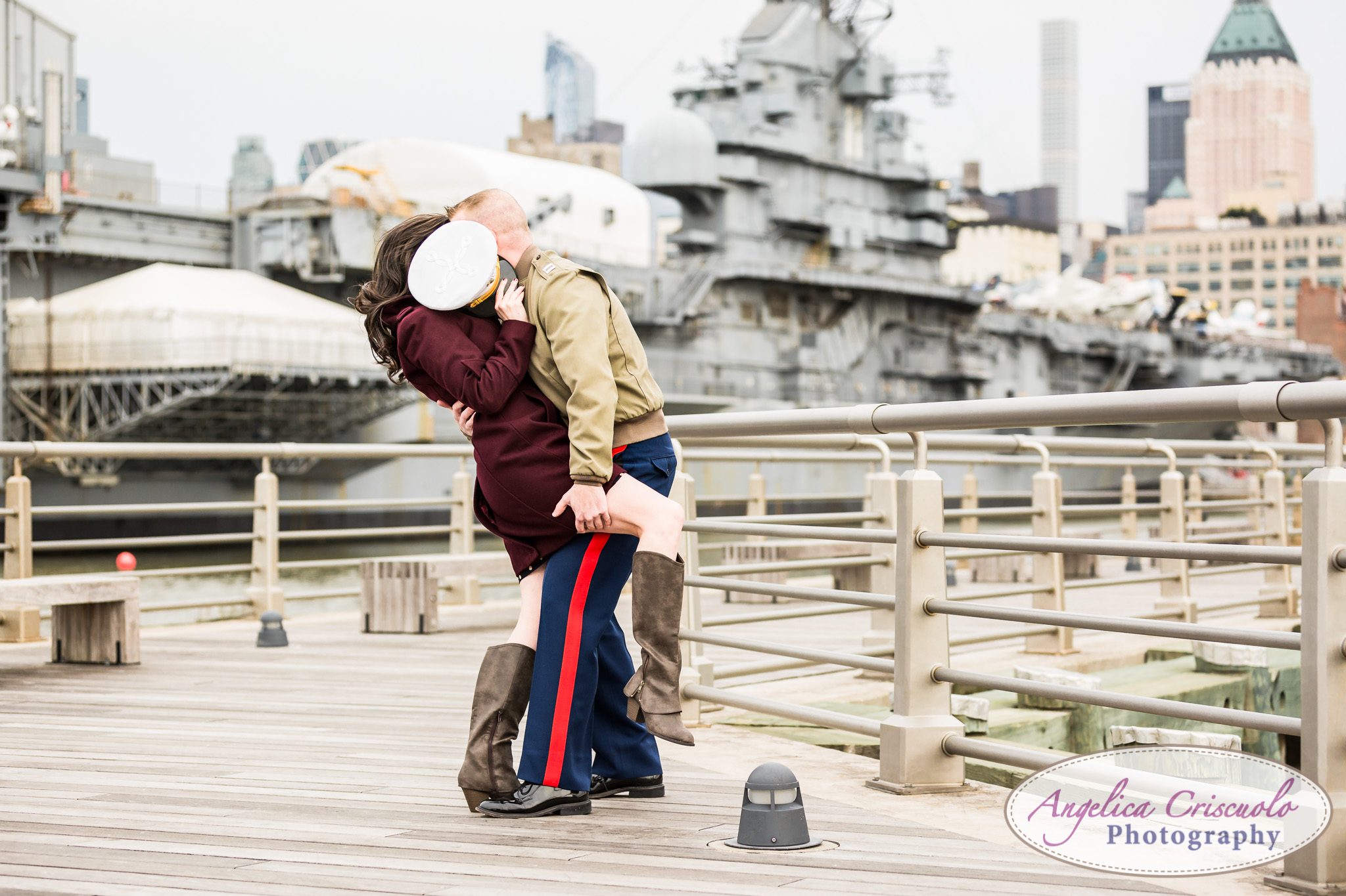 Fun New York Engagement photo ideas Marine Intrepid Museum