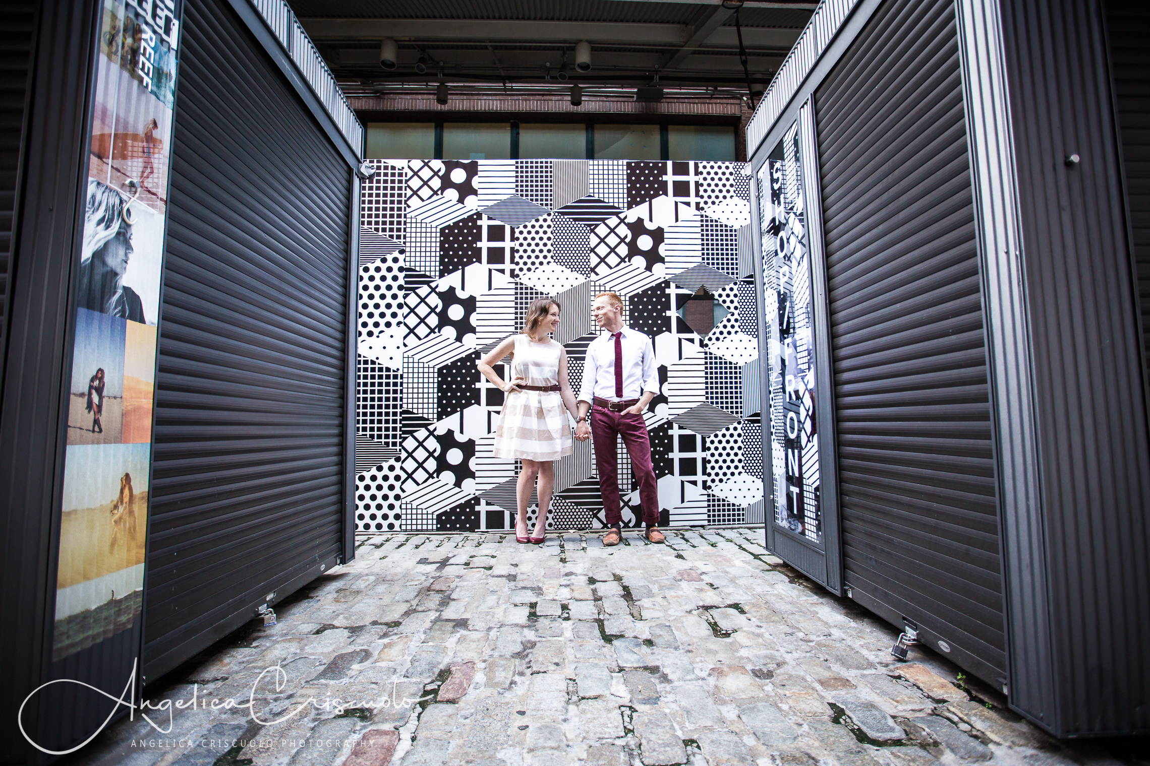 NYC Engagement photos in South Street Seaport Art Exhibits