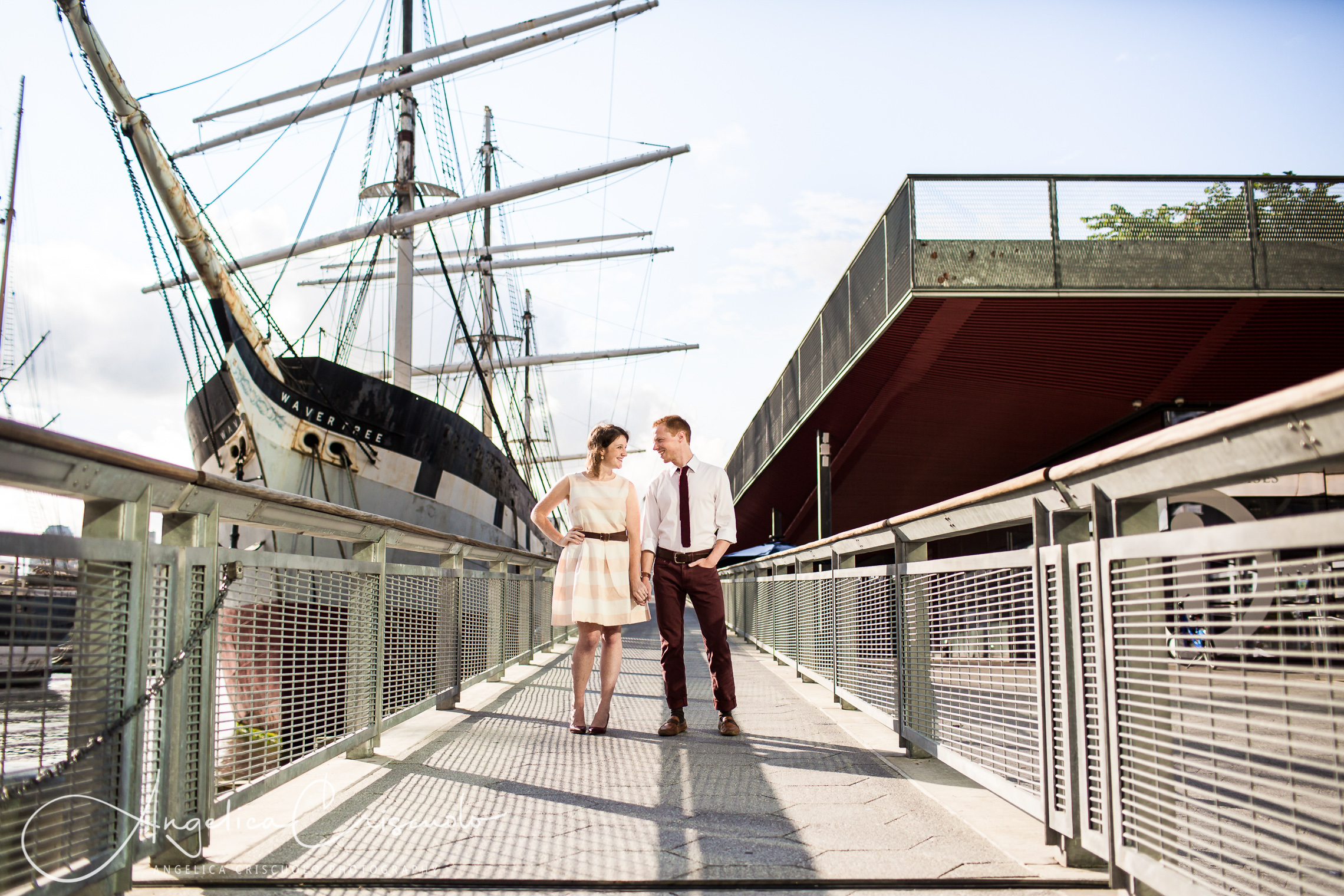 NYC Engagement photos in South Street Seaport Dock Ships