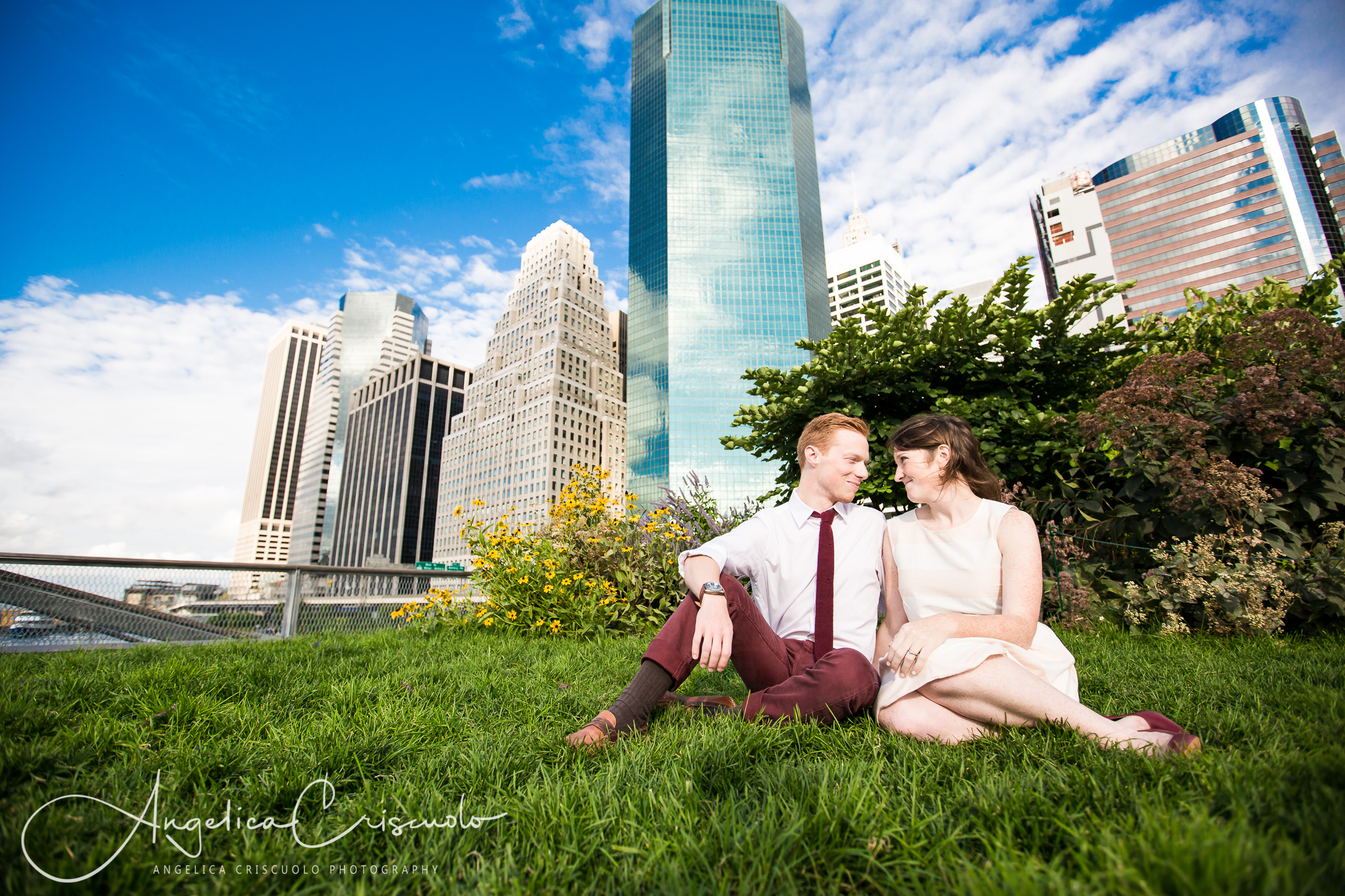 NYC Engagement photos in South Street Seaport City Skyline
