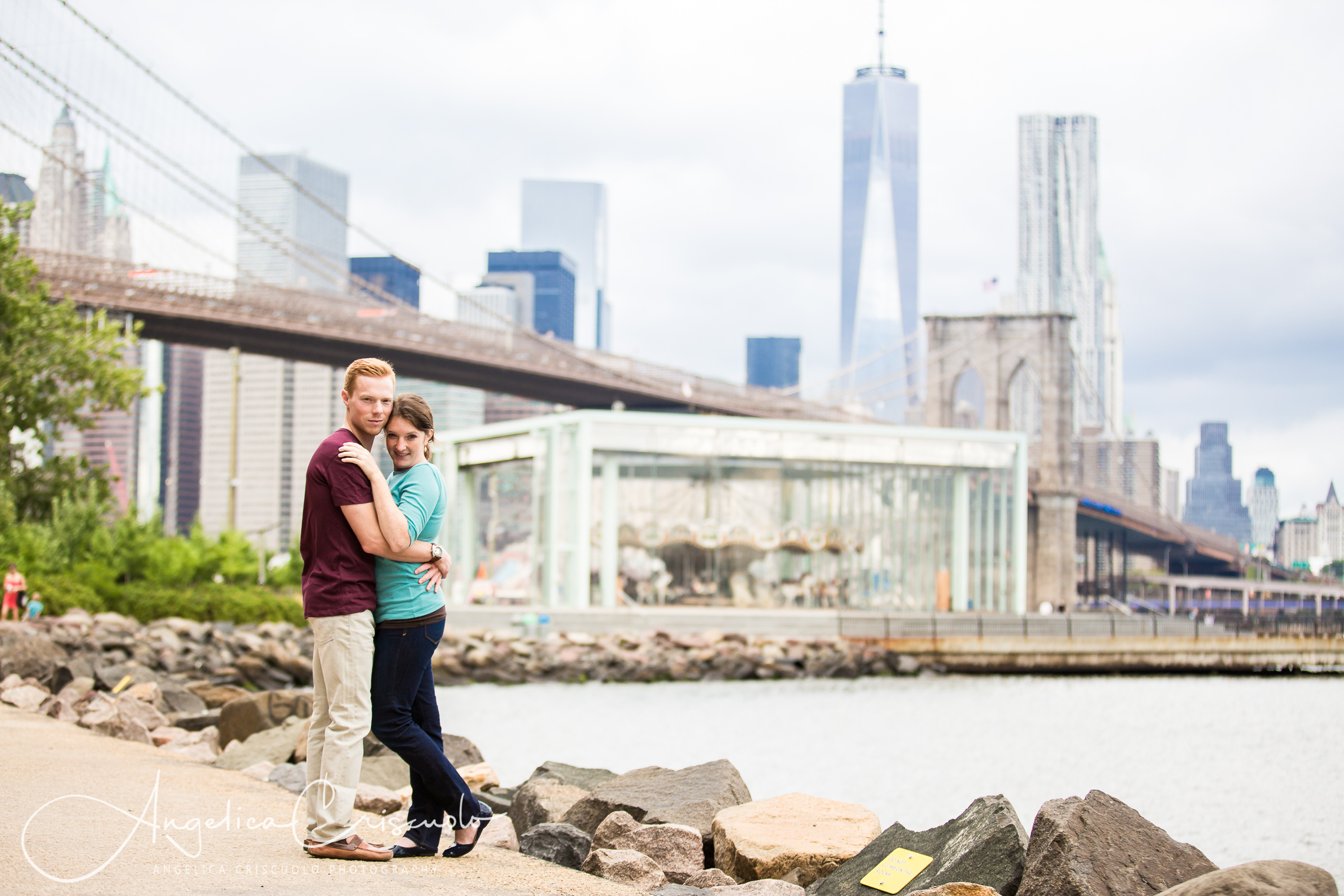 NYC Engagement photos in Dumbo and Jane's Carousel