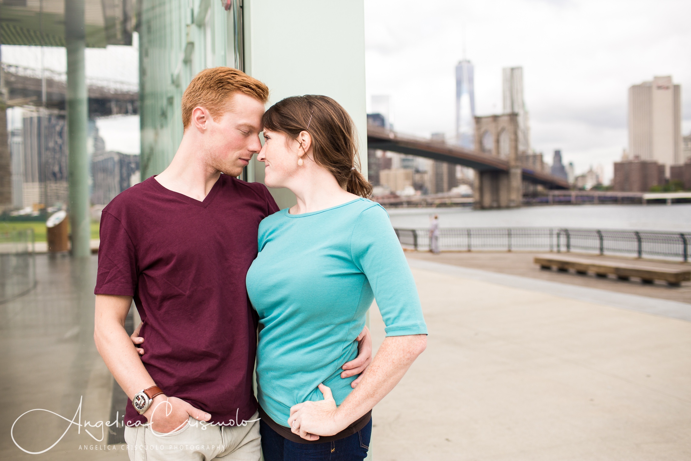 NYC Engagement photos in Dumbo and Brooklyn Bridge Jane Carousel