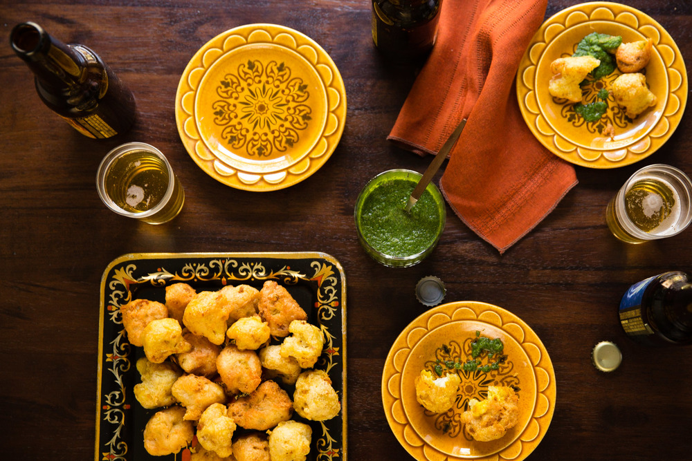 Beer-Battered Curried Cauliflower with Cilantro Chutney