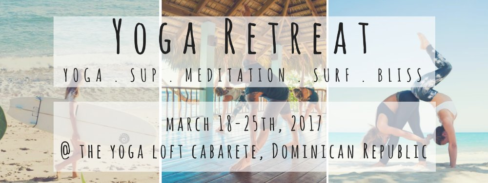 AQUA VIDA + SUP + YOGA + SURFING + MEDITATION RETREAT   MARCH 18TH - 25TH  WITH DAPHNE AND JANA  @ THE YOGA LOFT CABARETE, DOMINICAN REPUBLIC  Join Daphne Lyon and Jana Mars for an epic trip to the beautiful beach of Cabarete for a week full of yoga, meditation, and all things Stand Up Paddle Board (SUP) at an eco-friendly retreat situated right on the beach. Retreat into daily meditation and SUP Yoga classes during the serene mornings, enjoy organic farm to table meals, and twice daily yoga classes in the peaceful Yoga Loft overlooking the ocean. The well known beach of Cabarete is the perfect location for SUP Yoga held in the calm morning sun and an afternoon of relaxing on the beach or surfing the amazing breaks (ideal for all levels), while the eco-retreat center of Extreme Hotels aligns with Aqua Vida's mission to care for this beautiful planet. Shower yourself with the warm sun, healing ocean, and practices that bring so much joy and happiness into our daily lives. We can't wait to connect with you!      RETREAT INCLUDES   3 organic farm to table meals a day  7 nights accommodation at the eco-friendly (100% Solar Powered) Extreme Hotel  2 optional yoga classes daily at the Yoga loft  A vigorous morning vinyasa to wake us up and restorative evening class to relax   SUP Yoga class daily (weather permitting)  Morning meditation daily  Tour of the Organic Farm with River Tubing
