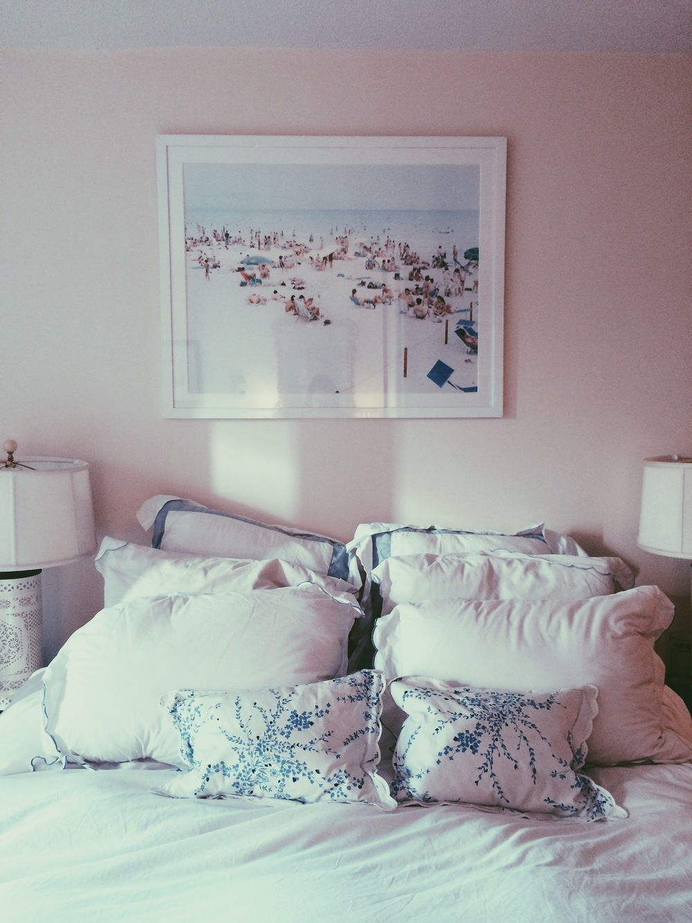 New York City. October 2014.   My bed. New York City // Linens by D. Porthault, Schweitzer, and Frette.