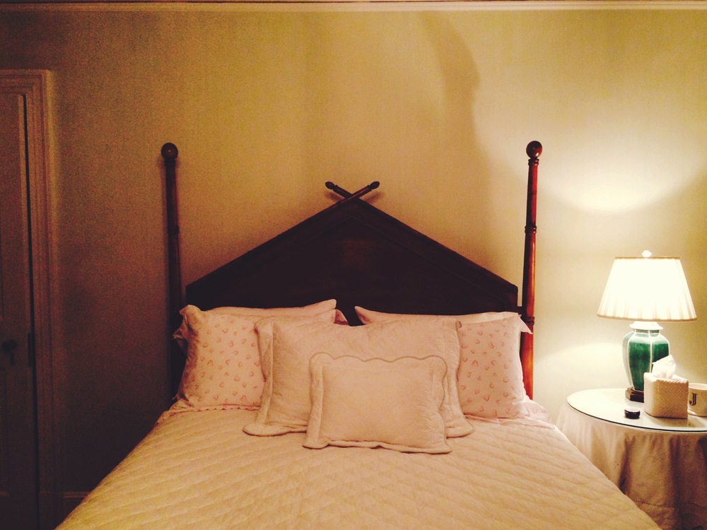 My childhood bed. Bedford, NY. November 2014.  My bed. Bedford, NY // Linens by D. Porthault and Schweitzer.