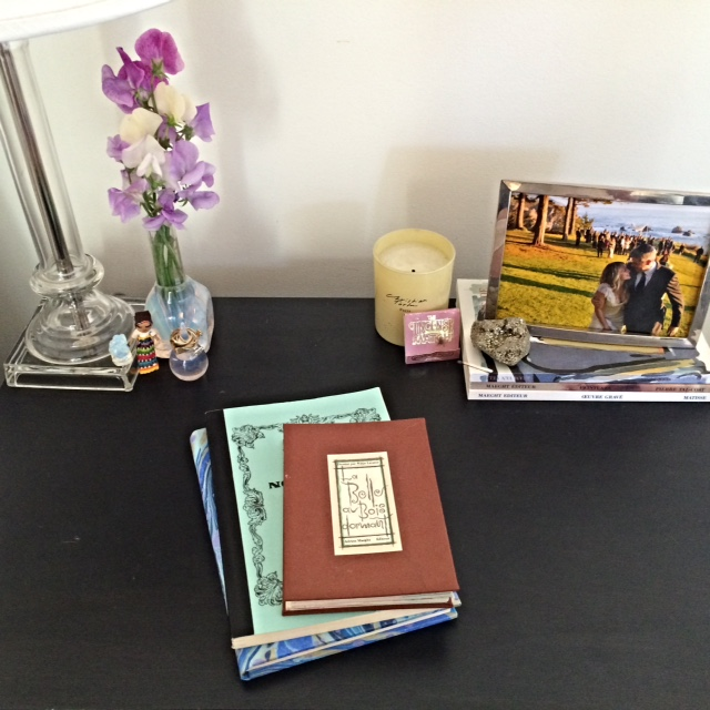 Rory's nightstand, featuring an adorable photo of Mr. and Mrs. on their wedding day.