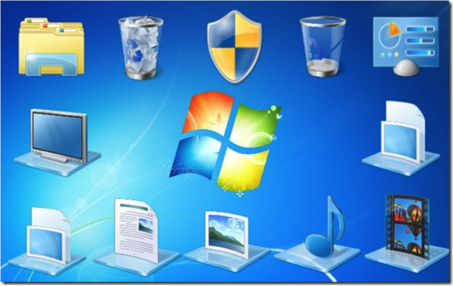 In previous versions of Windows, realistic interpretations of physical objects were used.