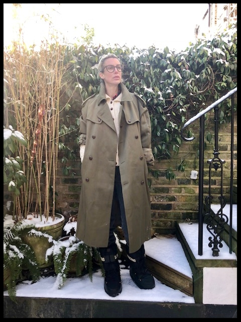 Ex-Military Coat & Arran Cardigan - Charity Shop, Jeans - East London Style (Home-made), Snow Boots - Moschino.