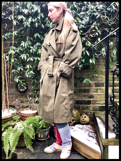 Trench - Charity Shop, Jeans - East London Style (Home-made), Trainers - Adidas.