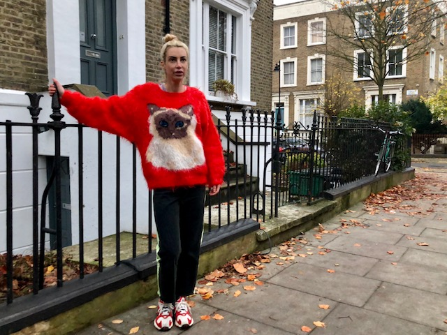Jumper - Ann Arundell, Jeans - East London Style (Me made!), Trainers - Adidas.