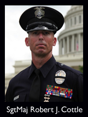 Veteran LAPD officer and United States Marine Corps Reservist Sergeant Major Robert J Cottle, 45, was killed by an improvised explosive device while on patrol in Southern Afghanistan on Wednesday, March 24, 2010. RJ joined the Marines at age 18, and the LAPD in 1990. His various LAPD assignments included Hollywood Vice, Southeast Area, LAPD Dive Team and, most recently, SWAT.   He is survived by his wife Emily and 9 month old daughter Kaila.  The LAPD established a trust fund for them.