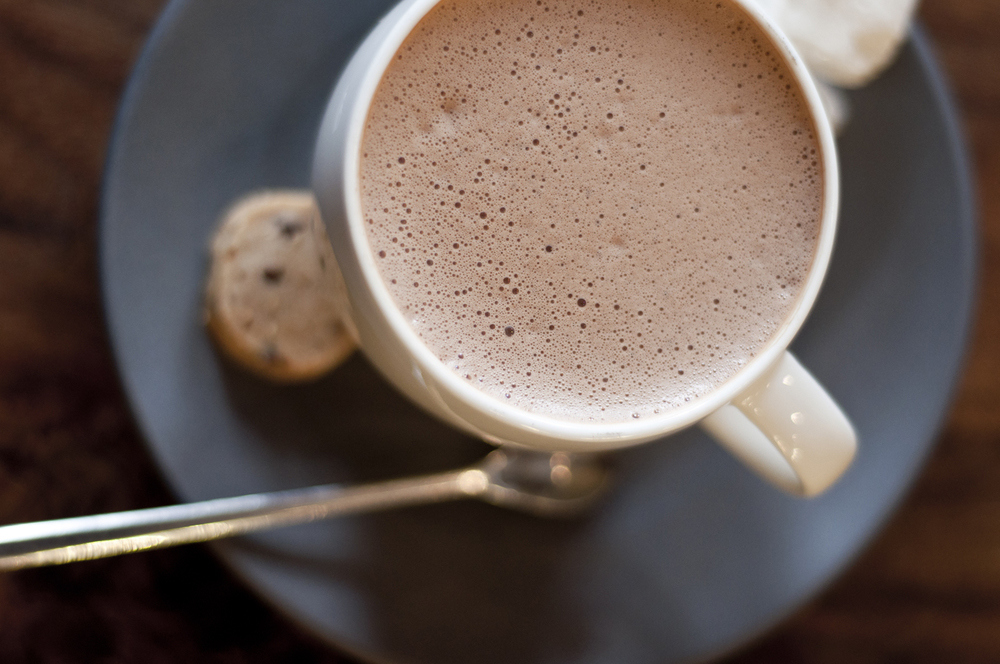 Dandelion Chocolate's signature hot chocolate with complimentary marshmallows, also made in-house.