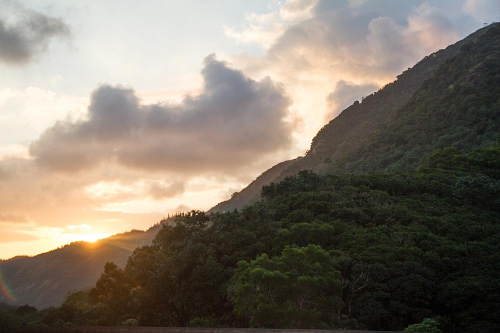 Sunset behind the Ko'olau Mountains.