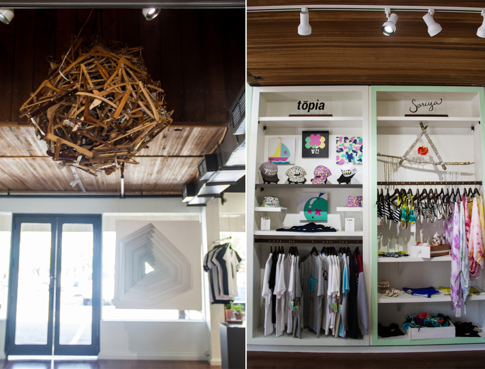 [left:] Art installations inside MORI [right:] Local vendors tōpia & Soriya Swimwear