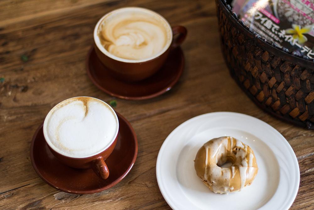 Latté, cappuccino and vanilla espresso glaze donut from Morning Glass.