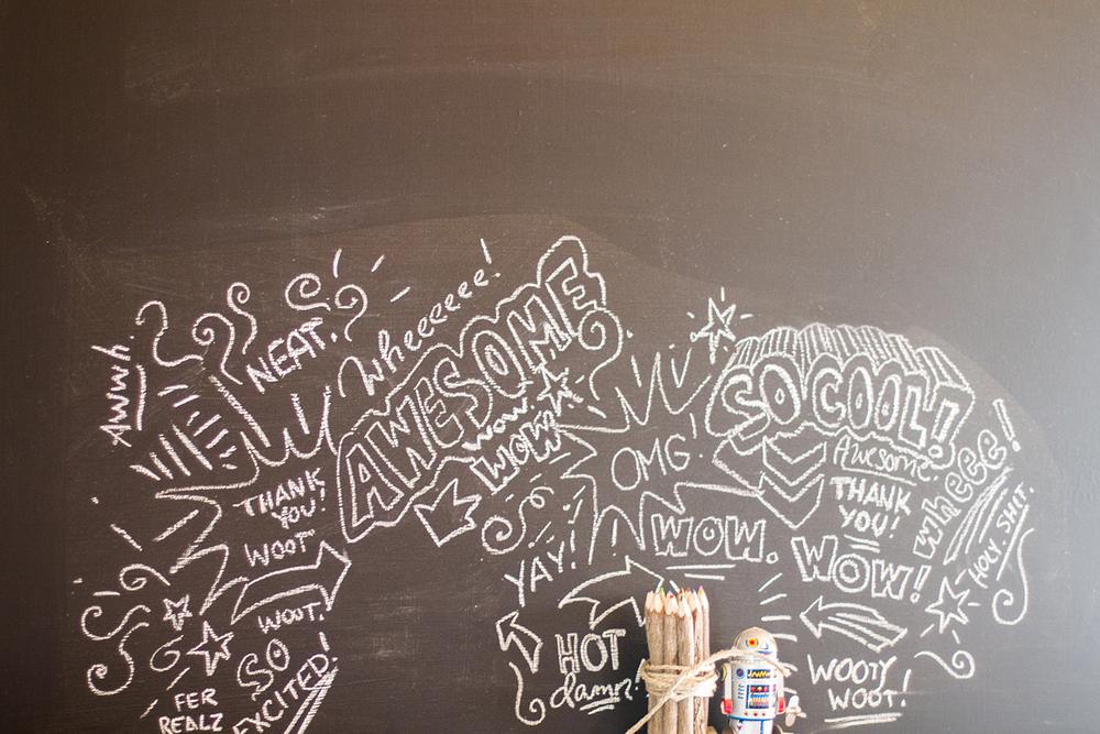 Amy's chalkboard doodles.