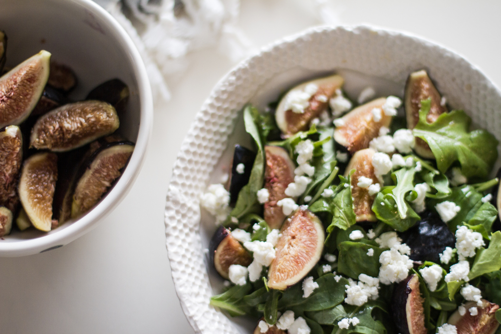 Fig, Basil, Goat Cheese Salad | desertfroth.com