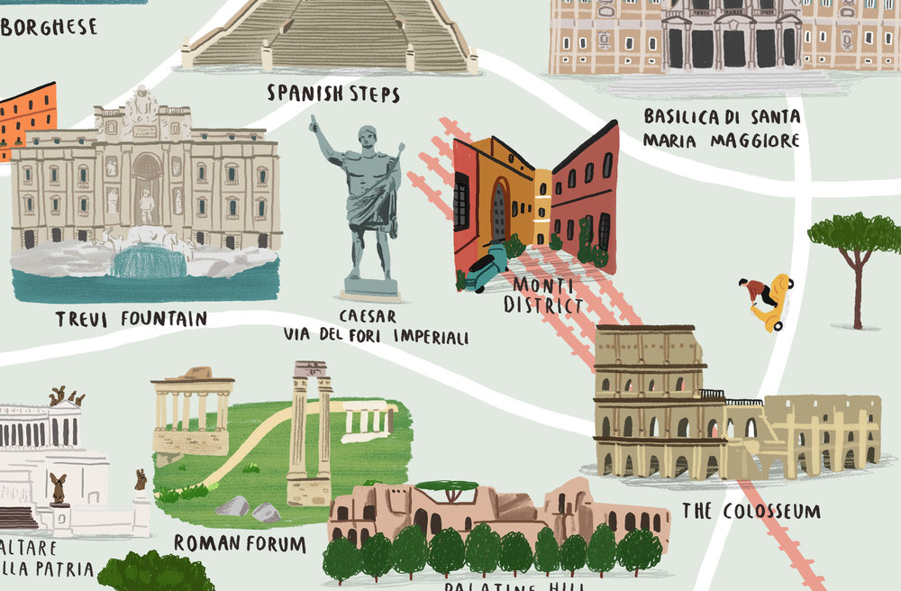 The Map Of Rome Alex Foster - Rome map cartoon