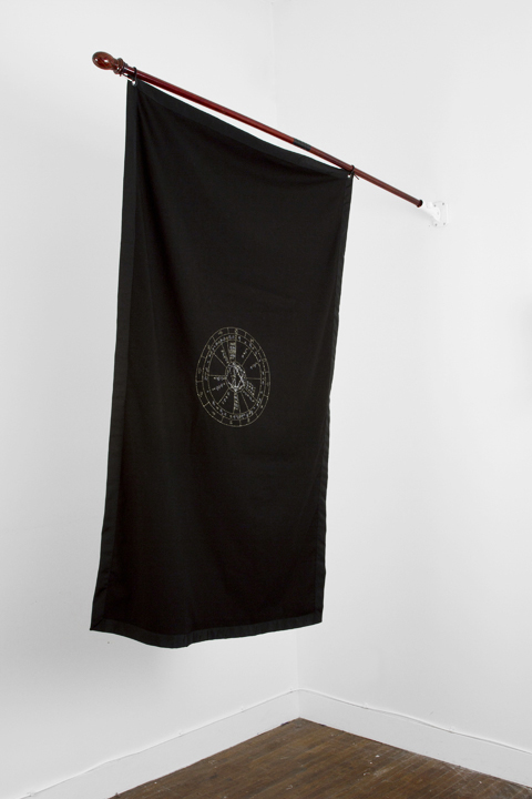 silver and gold thread on black cotton, 3ft x 5ft Bobby Sands's astrological natal chart