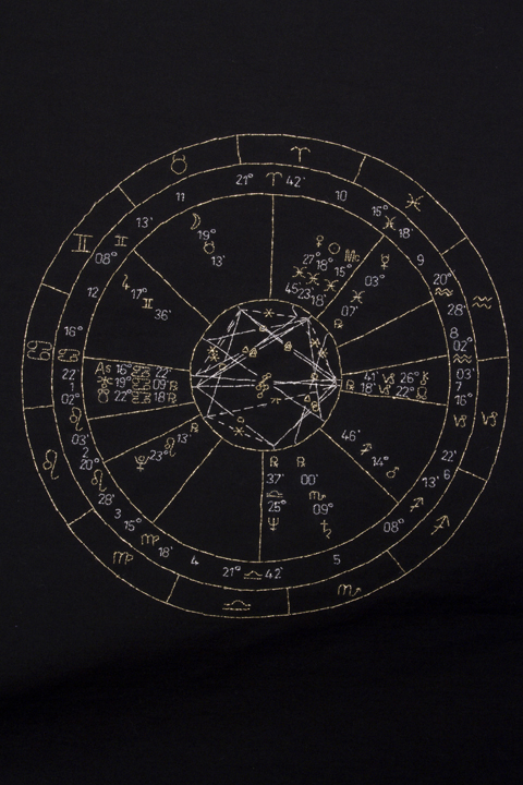 Silver and gold thread on black cotton (detail), 3ft x 5ft Bobby Sands's astrological natal chart