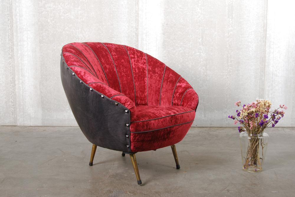 ORVETT for DIESEL - SHELL ARMCHAIR, red velvet