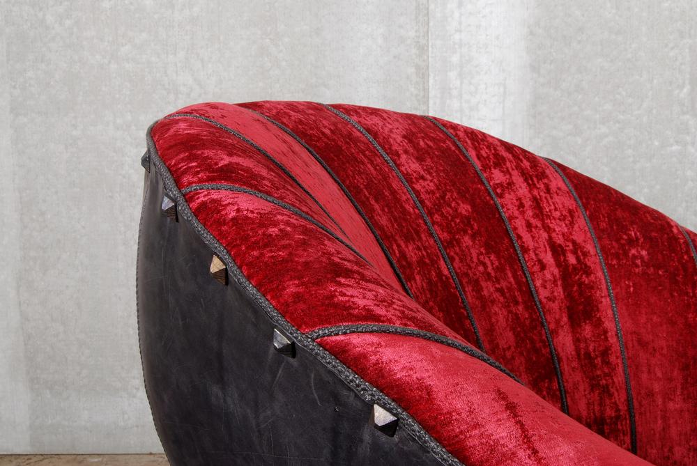 ORVETT for DIESEL - SHELL ARMCHAIR, red velvet, detail