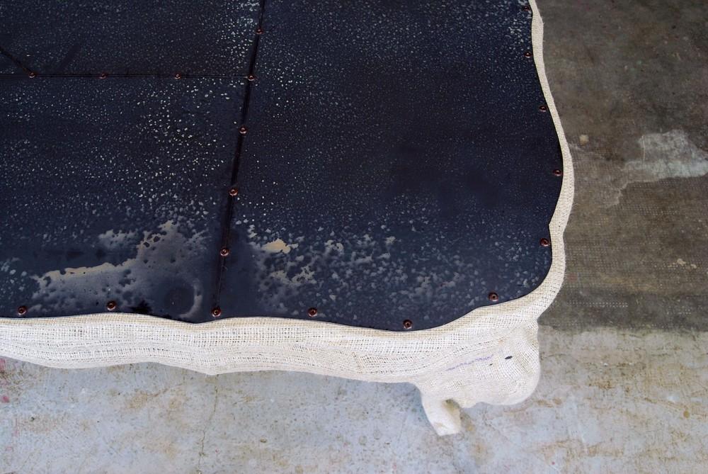 ORVETT for DIESEL - CHIPPENDALE TABLE, natural jute and black iron