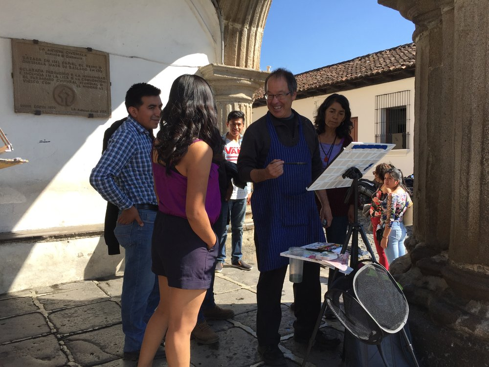 Kevin Macpherson chats with locals in Antigua, Guatemala