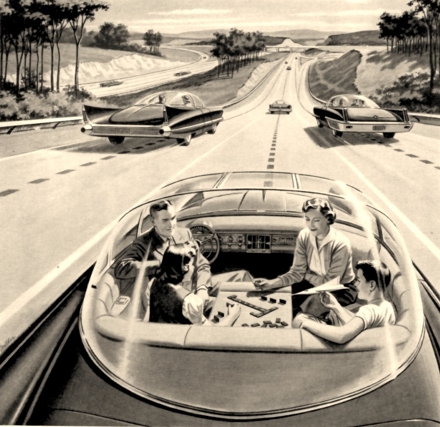 Would a Family Play Scrabble in a Driverless Car of the Future? (Image Credit: Paleofuture, circa 1957).