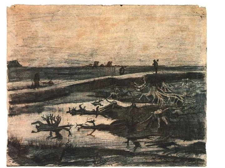 Landscape with Bog-Oak Trunk , drawn in Drenthe, The Netherlands, in 1883  (Museum of Fine Arts, Boston)