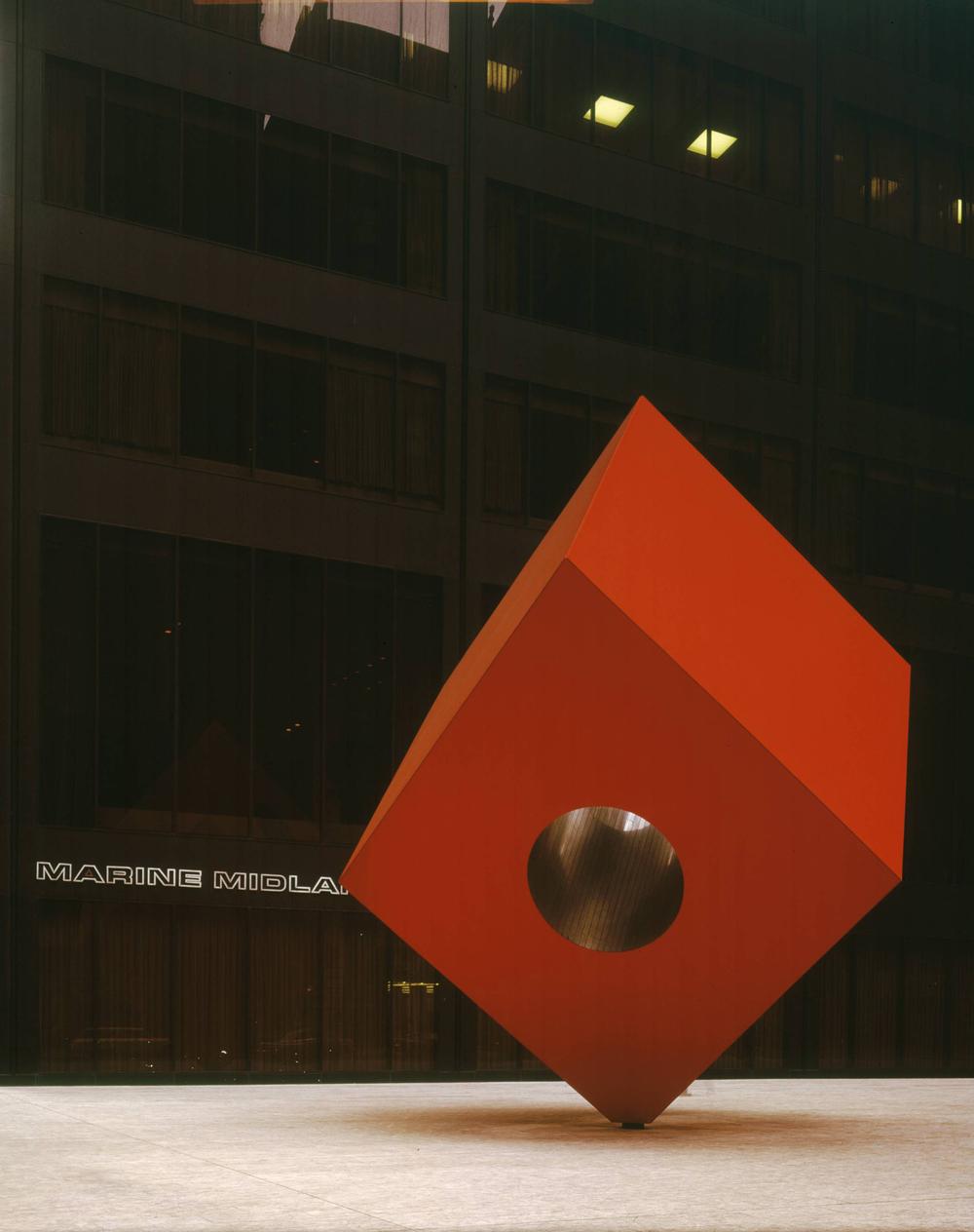 Red Cube , 1968. Isamu Noguchi. Steel, Paint. ©The Isamu Noguchi Foundation and Garden Museum, New York / ARS. Photo by Michio Noguchi.