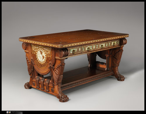 Library Table:  Herter Brothers (Active New York, 1864–1906)