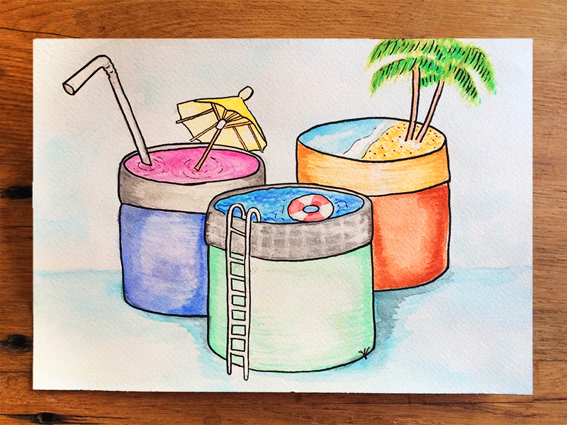 "Here's a watercolor I created in a ""summer hydration"" theme for Kiehl's products. I played with the shape of the jar to create a surrealist landscape. This painting was turned into the piece below, with the addition of the product names."